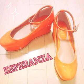 エスペランサ(ESPERANZA)のオレンジ♡新品(ハイヒール/パンプス)