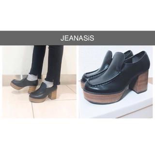 ジーナシス(JEANASIS)の【美品】JEANASiS ヒールローファ ブラック L ジーナシス(ローファー/革靴)