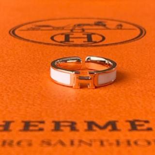 H モチーフ リング ピンクゴールド ホワイト(リング(指輪))