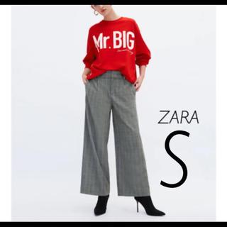 ザラ(ZARA)の【新品・未使用】ZARA チェック柄 ワイドパンツ S(カジュアルパンツ)