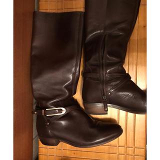 オゥバニスター(AU BANNISTER)のブラウン ロングブーツ 23.5センチ(ブーツ)