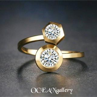 送料無料 10号 ゴールドサージカルステンレス2ポイントスーパーCZリング指輪(リング(指輪))