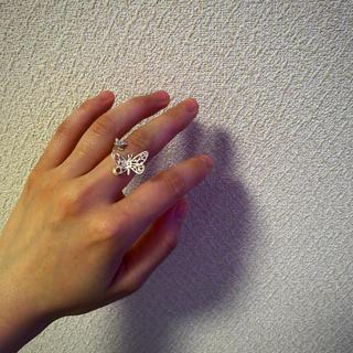 シルバーリング フリーリング 蝶々 お花(リング(指輪))