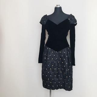 クリスチャンディオール(Christian Dior)の超希少品 ディオール ヴィンテージドレスワンピース ベロア&シルク 黒(ひざ丈ワンピース)