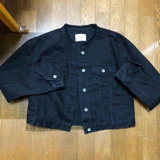 ムルーア(MURUA)のMURUA ノーカラーブラックデニムジャケット(Gジャン/デニムジャケット)