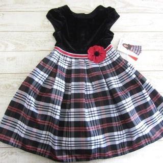 女の子 フォーマル ドレス ワンピース 黒 チェック 6/〓ZFA(コン)(ドレス/フォーマル)