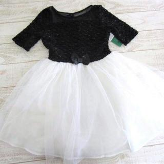 ZUNIE キッズ チュール ワンピース ドレス 黒白 12/〓ZEY(コン)(ドレス/フォーマル)