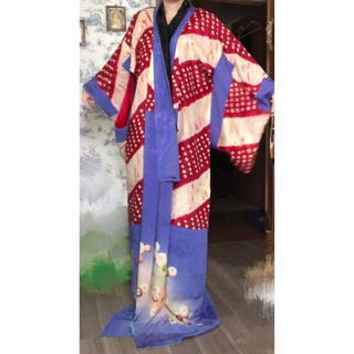 大正時代遊女花魁使用 貴重レア アンティーク着物 絞り 青と赤 舞妓芸者長襦袢(着物)