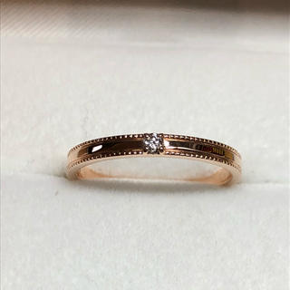K10PG ミル打ち 一粒ダイヤモンドリング 10号(リング(指輪))