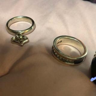 シルバーアクセ ハート 黒石 ブラックストーン ダイアモンド リングセット (リング(指輪))