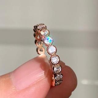 リング 指輪 CZ ダイヤ ミル打ち フルエタニティ ピンクゴールド 15号(リング(指輪))