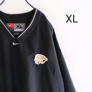 ナイキ(NIKE)のUS ナイキ 黒 Vネック プルオーバー ジャケット XL(ナイロンジャケット)