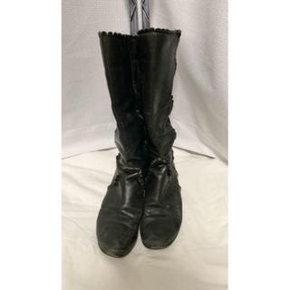 ツモリチサト(TSUMORI CHISATO)のツモリチサト ロングブーツ 革 23cm ローヒール(ブーツ)