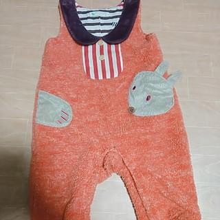 ナルミヤ インターナショナル(NARUMIYA INTERNATIONAL)の☆専用☆ babycheer♡クマさんサロペット 80 オレンジ系 (カバーオール)