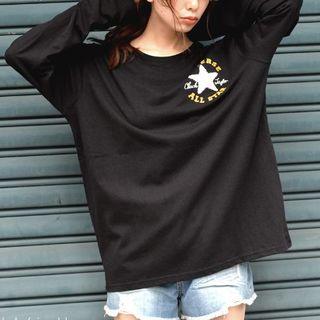 コンバース(CONVERSE)の新品!コンバース ロンT サガラ刺繍 BK Lサイズ 白の星 金の文字(Tシャツ/カットソー(七分/長袖))