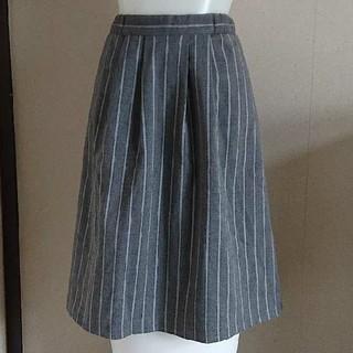 イッカ(ikka)のikkaグレーストライプスカート(ひざ丈スカート)