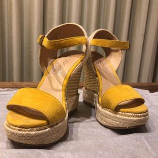 アルド(ALDO)の美品【ALDO】本革コンビウェッジ☆ウェッジソール 黄色(サンダル)