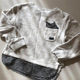 プティマイン(petit main)の週末限定!petit main✖️トーマスコラボ淡グレーシャツ騙しトレーナー(Tシャツ/カットソー)