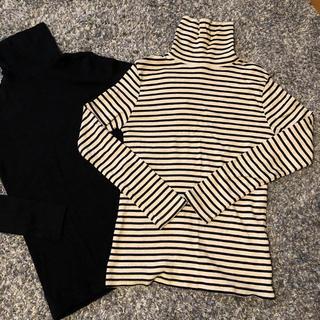 ハニーズ(HONEYS)のハイネック ロングTシャツ L ボーダー(Tシャツ(長袖/七分))