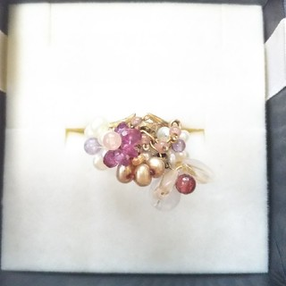 マルチカラー ローズクォーツと淡水パールなどのリング(リング(指輪))