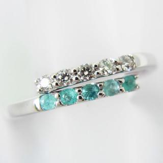 K18WG パライバトルマリン ダイヤモンド リング フリーサイズ[g79-9](リング(指輪))