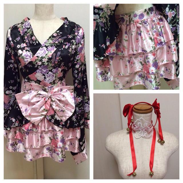 新品☆ハロウィンコスプレ☆ミニ着物ピンク レディースのルームウェア/パジャマ(ルームウェア)の商品写真