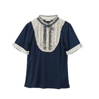 アクシーズファム(axes femme)のスタンド襟ブロッキング プルオーバー 《ブルーグリーン》(カットソー(半袖/袖なし))