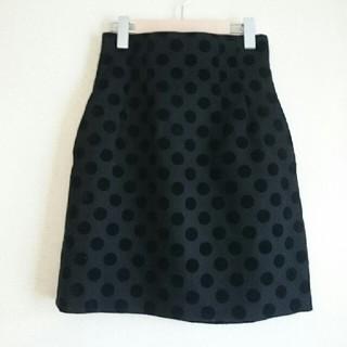 ルシェルブルー(LE CIEL BLEU)のLE CIEL BLEU 水玉 ドット ウールスカート 36(ひざ丈スカート)