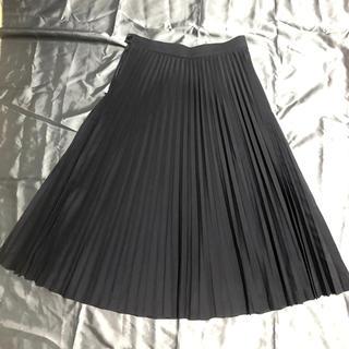 マッキントッシュフィロソフィー(MACKINTOSH PHILOSOPHY)のマッキントッシュフィロソフィーフリーツスカート 品のいいブラックnavy 美品!(ひざ丈スカート)