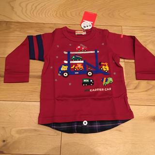 ミキハウス(mikihouse)の【新品未使用】ミキハウス 赤 ロンT 長袖 Tシャツ 80(シャツ/カットソー)