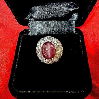 ❤最高級❤Pt.900  パープルトルマリンキャッツアイ&ダイヤモンドリング❤(リング(指輪))