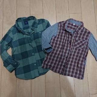 ムジルシリョウヒン(MUJI (無印良品))の無印良品gapギャップ長袖シャツ二枚セット100㎝ベビー(Tシャツ/カットソー)