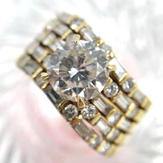 K18 ダイヤモンド D2.004 1.18 デザイン リング 15.5号(リング(指輪))