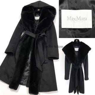 マックスマーラ(Max Mara)のマックスマーラ 白タグ 毛皮ファー ベルテッド ガウン コート 黒 E1521(毛皮/ファーコート)
