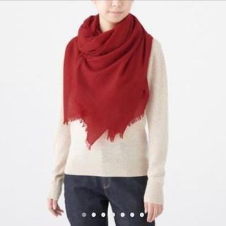 ムジルシリョウヒン(MUJI (無印良品))のカシミヤ 平織り ストール 180✕80・赤(マフラー/ストール)