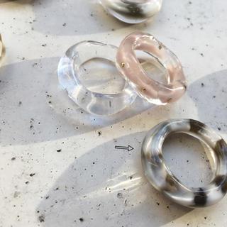 ホワイトとブラウンべっこうリング ☆ 約13号(リング(指輪))