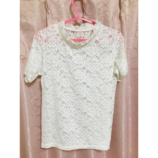 GU(ジーユー)のGU レースフリルネック レース Tシャツ レディースのトップス(シャツ/ブラウス(半袖/袖なし))の商品写真