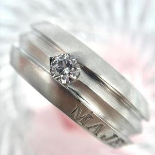 K18WG ダイヤモンド 0.25ct シンプル リング MAJESTY 24号(リング(指輪))