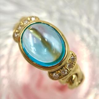 ☆K18 ブルートパーズ 2.78 ダイヤ デザイン リング 12.5号(リング(指輪))