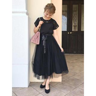 merlot - 結婚式 二次会 デコルテシースルー チュール ドレス ワンピース merlot