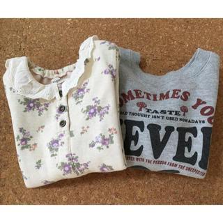 ビケット(Biquette)の女の子 サイズ100 裏起毛トレーナー 2点セット まとめ売り(Tシャツ/カットソー)