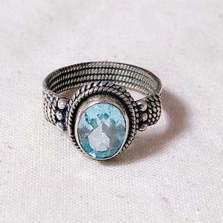 指輪 リング アクアマリン ブルー 天然石 ヴィンテージ 13号 gucci(リング(指輪))