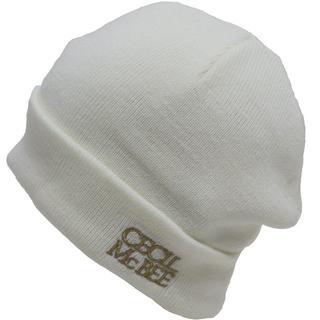 セシルマクビー(CECIL McBEE)のCECIL McBEE セシルマクビー ニット帽 ロゴ アクリル ★ホワイト新品(ニット帽/ビーニー)