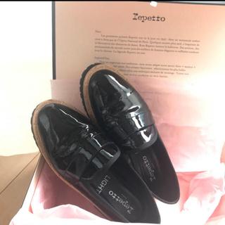 レペット(repetto)の美品 レペット ローファー エナメル ブラック 37(ローファー/革靴)