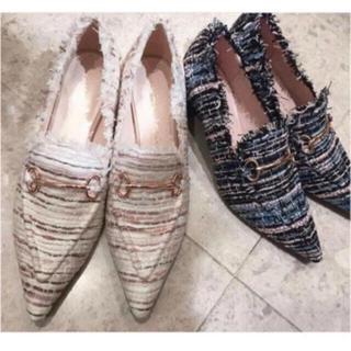 エイミーイストワール(eimy istoire)のeimy ツイードローファー(L size)(ローファー/革靴)