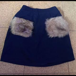グレイル(GRL)のGRL グレイル ポケットファー スカート ネイビー 紺 ミニスカート タイト(ミニスカート)