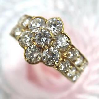 K18 ダイヤモンド  D2.00ct フラワー モチーフ リング 11号(リング(指輪))