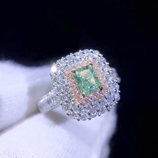 gia♡0.51ctグリーンダイヤモンド指輪(リング(指輪))