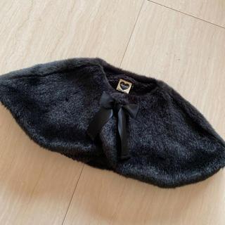 petit main - スヌード ネックウォーマー ファーティペット 黒 90〜100cm リボン
