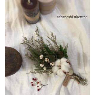 ふわふわの綿花 コットンフラワーと針葉樹のシンプルな スワッグ ドライフラワー(ドライフラワー)